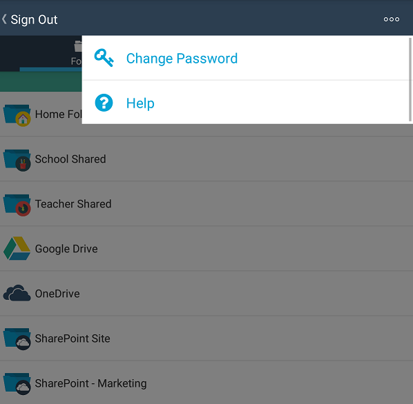Changing your password (Android) - Foldr Support